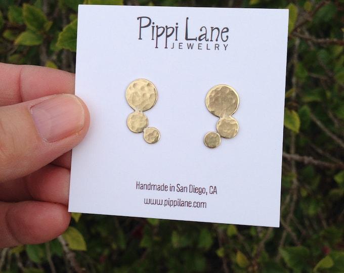 Gold circle post earrings