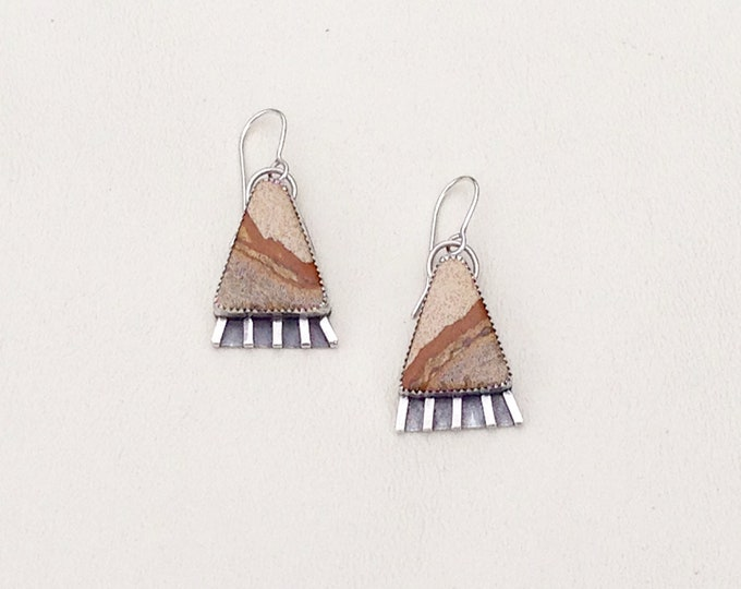 Picture Jasper and Sterling Silver Earrings