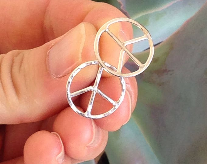 Peace sign stud earrings handmade hammered sterling silver no two are alike