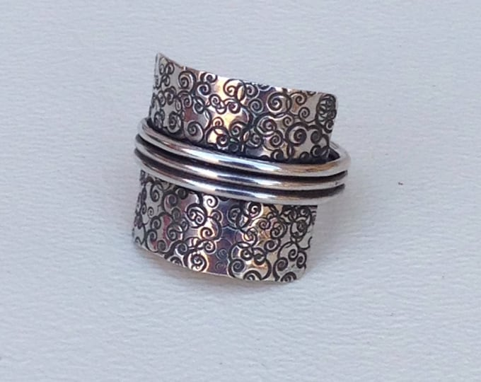Statement ring using all sterling silver or silver and copper three bands made to order