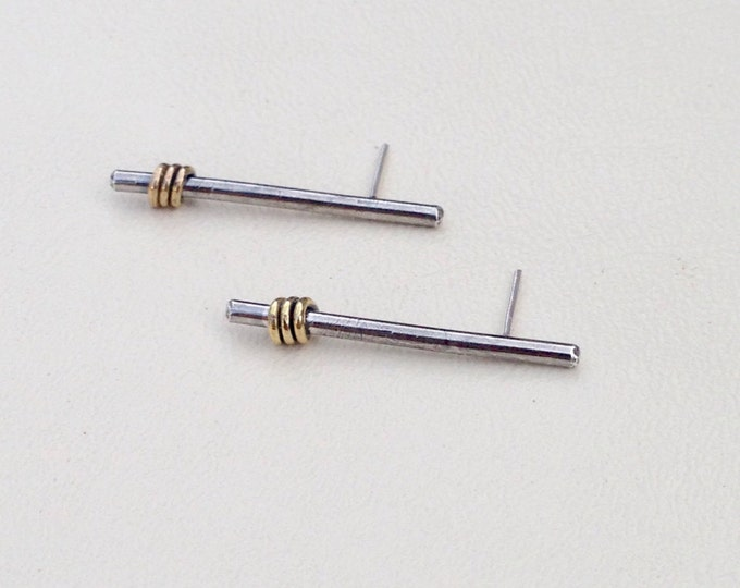 Silver stick earrings with 14k gold filltwists oxidized stud drop