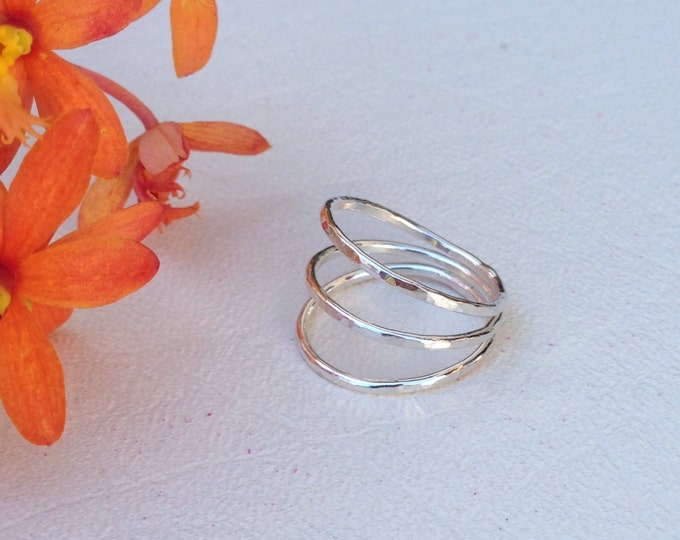 Sterling silver hammered triple band ring handmade