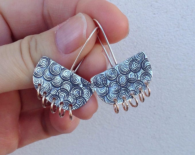 Hammered Silver Fan Dangle with Gold Rings