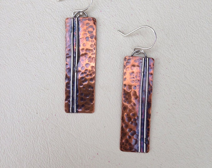 Copper earrings with silver stripes hammered oxidized