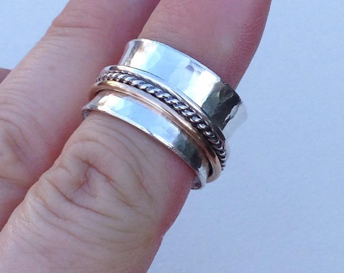 Spinner ring with three band, 14k yellow gold fill, silver rope and silver handmade made to order