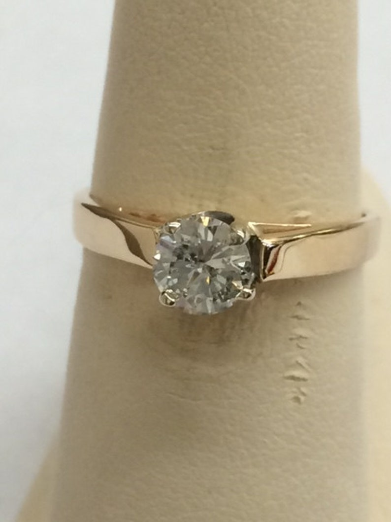 071a0fcf173f60 Diamond engagement ring 14k yellow gold with .51 carat round | Etsy