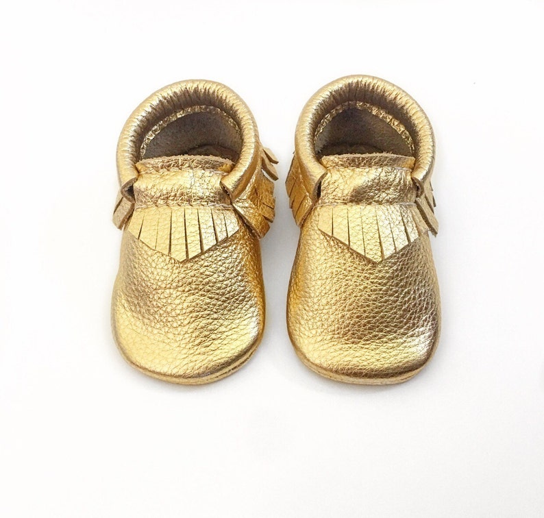 7d50e90f3d493 Gold Baby Moccasins, Toddler Leather Moccasins, Gold Moccasins, Gold  Leather Shoes, Infant shoes, Crib Shoes, Wild Explorers