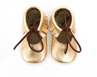 Gold Mary Jane Moccasins, Baby moccasins, Toddler Moccasins, Leather baby shoes