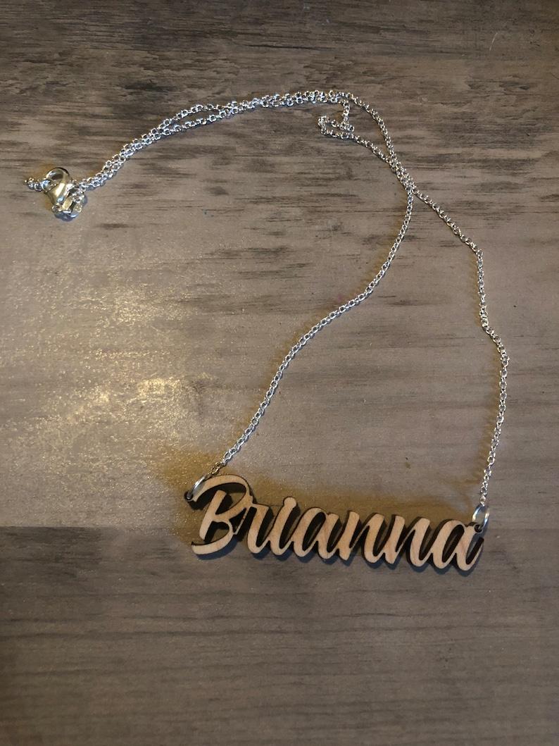 Customized wood name necklace