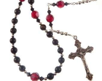 Anglican Episcopal Protestant Rosary Black Agate Red and Swarovski Crystal, Male, Female, Handmade, Prayer Beads, Religious Gift
