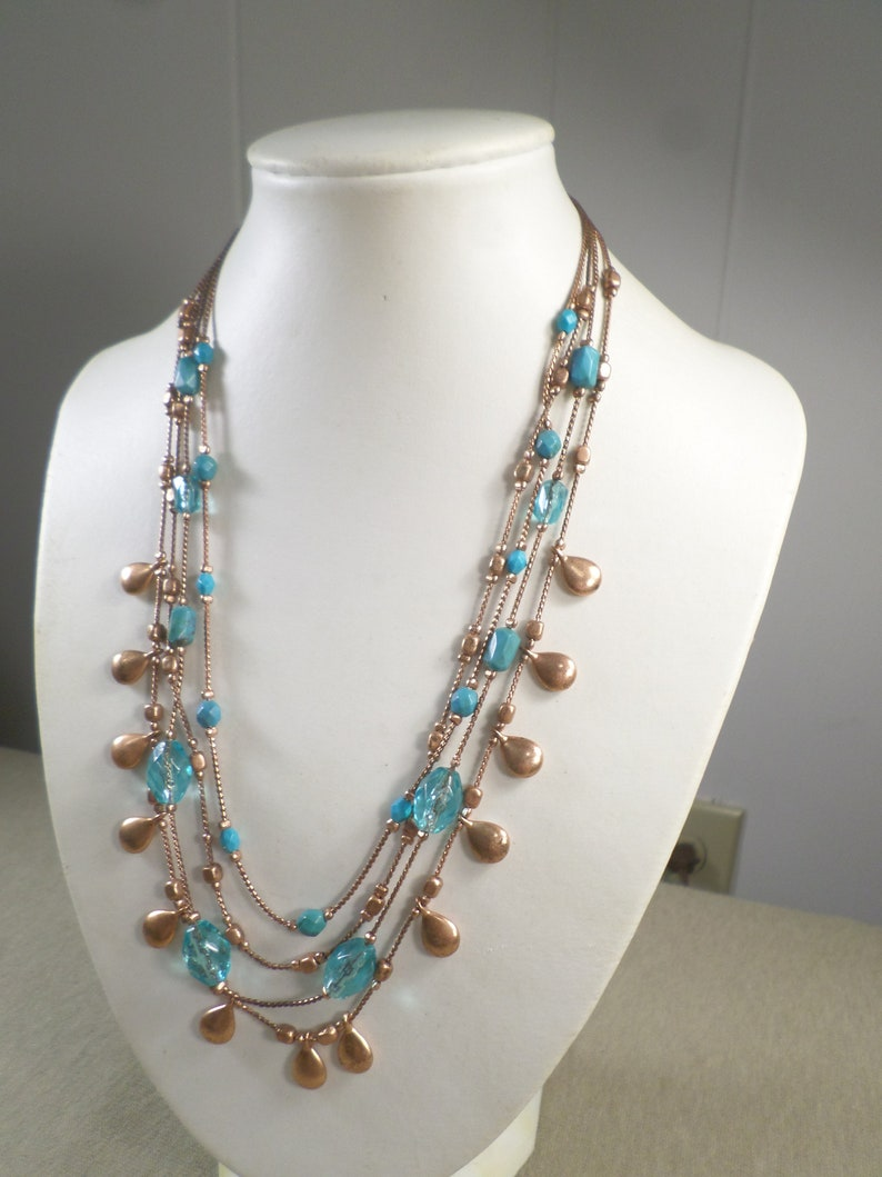 Vintage Rose Gold Tone Multi Strand Necklace With Blue Glass And Lucite Beads WK# 5955