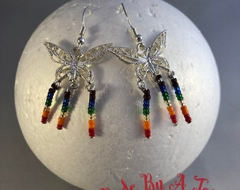 Pride LGTBQ+ Flag Butterflies Silver Coloured Seed Beads One Of A Kind Unique Earrings Rainbow