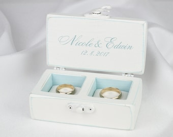 White Wedding Ring Box, Personalized Rings Box, Love Birds Ring Bearer Box, Something Blue Ring Box,  Beach Wedding Ring Box