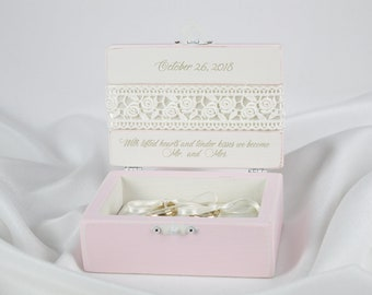 Wedding Ring Box, Ring Bearer Box, Pink Ring Box, Personalized Ring Box