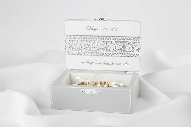 Grey Wedding Ceremony Ring Box Custom Made Lace Ring Box