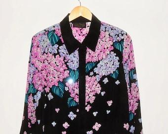 63747a9e2a9ca9 BOB MACKIE Wearable Art Black Sequin Floral Silk Blouse Size M