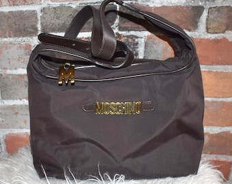 fc15baa46d54e MOSCHINO Gold Spell Out Letter Vintage 1980 s Brown NYLON Bag Redwall