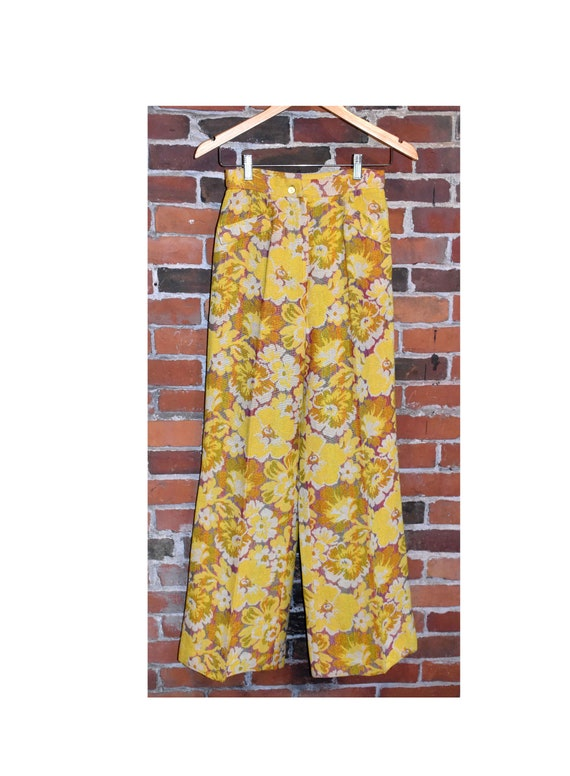 Vintage 1960's Country Set Yellow Floral Hippie Be