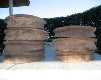 Antique Bowler / Derby Flange Set #36 -- 7 Flanges-- Millinery Tool (Box H)