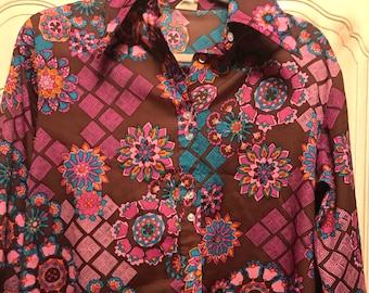 Groovy psychedelic floral 60s blouse - Size L