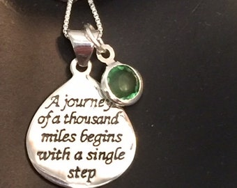 Sterling Silver A journey of a thousand miles pendant