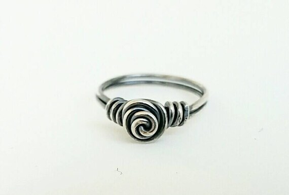 Pinky Ring-Toe Ring-Sterling Silver-Wire Wrapped-Perfect for little girl/'s ring too