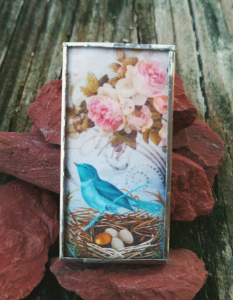 Magnet-Bird-Nest-Roses-Soldered-Sterling Silver-Decorative-Blue-Pink-Unique-Handcrafted-Gift-Handmade-Home-Office
