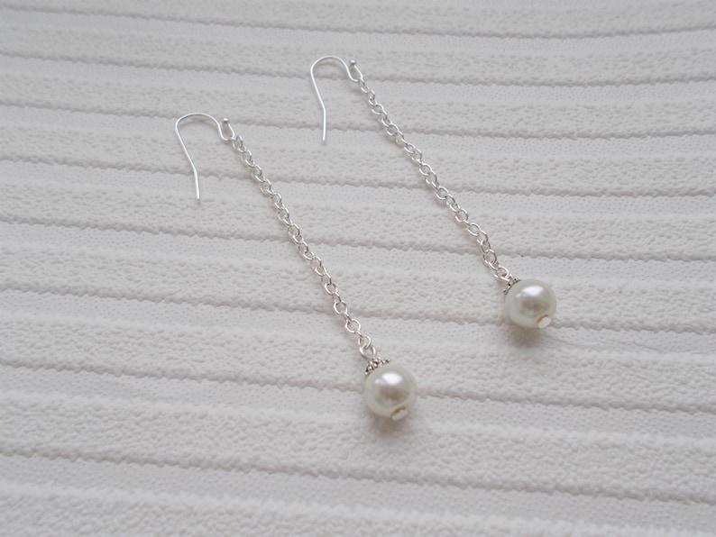 pearl earrings silver dropper earrings pearl drop earrings gift for women wedding jewellery single pearl white pearl dangle earrings