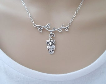 owl necklace - silver necklace - everyday necklace - handmade jewellery for women