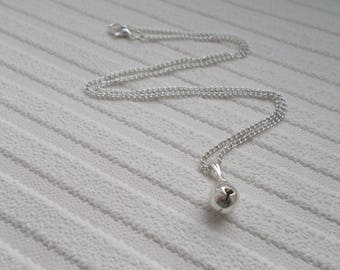 jingle bell necklace - christmas necklace - dainty necklace - silver bell charm