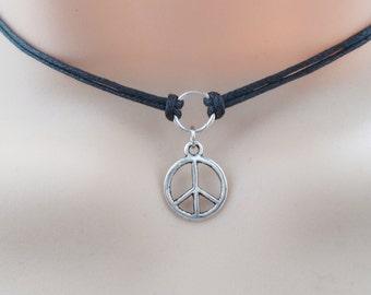 black double cord peace choker necklace