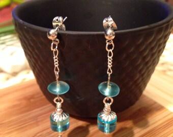 Aqua Beads on Silver Chain Post Earrings