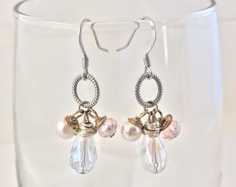Faceted glass cluster teardrop earrings