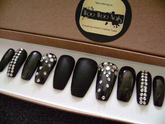 Dark Knight - Gunmetal Crystal Hand Painted False NailsPress on Nails Full  Cover Black Matte