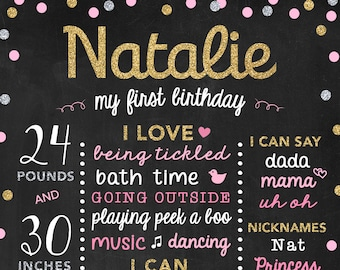 1st Birthday Board Gold and Pink, First Birthday Sign, 1st Bday poster, Gold Birthday Party Decor - Girls Birthday Chalkboard Poster Stats
