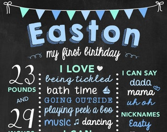 First Birthday Stats Baby Boy Chalkboard, One Year Old Boy Chalk Board, First Birthday, First Year Photo Props, Blue and Green Poster