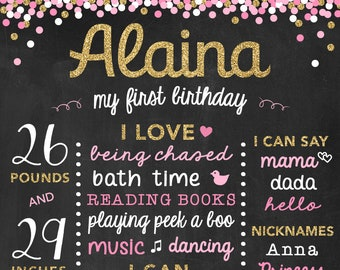 Glitter and Pink Chalkboard Birthday Sign, Printable First Birthday Poster, Gold 1st Birthday, Baby Birthday, Chalk Poster