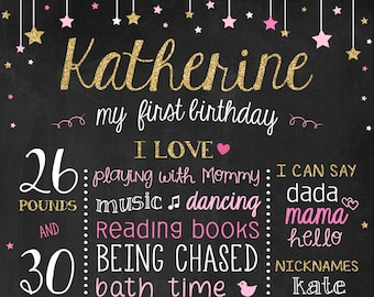 Birthday Chalkboard - Twinkle Twinkle Little Star First Birthday Poster - Pink and Gold Birthday - Twinkle Stars Birthday Sign