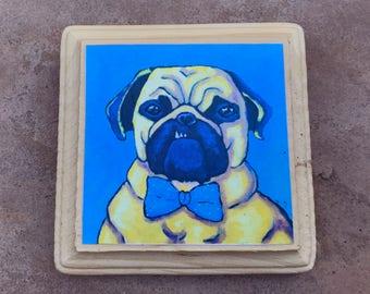 Reginald the Pug wood mounted print ready to hang mini print