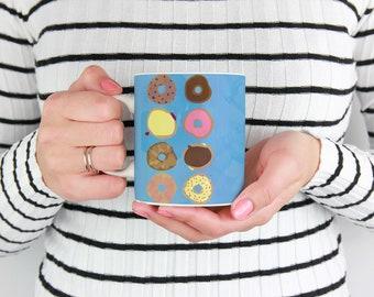 Donuts Galore Mug, coffee and tea mug 11 oz or 15 oz, sweet tooth, desserts, chocolate, doughnuts