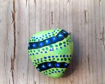 Handpainted stone magnet - Swirls of Green
