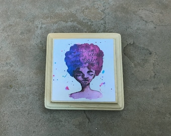 Don't Touch My Hair wood mounted print ready to hang mini print