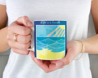 Life's a Beach and Then You Fry Mug, summer vacation vibes, sunburned bather, funny beach illustration