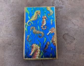 Seahorses wood mounted print ready to hang mini print watercolor