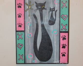 Black Cats PawPtints Hearts Small Original Painting On Wood Retro Mid Century Modern