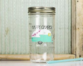Happy Camper Drinking Jar