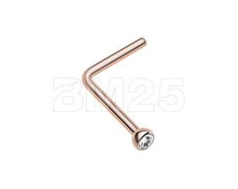 Rose Gold Press Fit Gem Top L-Shaped Nose Ring