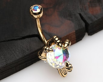 Antique Finish Yellow Clay Flower with Blue Butterfly Aurora Borealis Gems and Bead Dangle Belly Button Ring Navel Body Piercing Jewelry