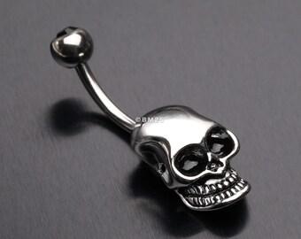 8f92e72e9ecb Apocalyptic Skull Head Belly Button Ring