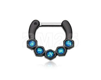 Colorline Opal Hexa Gemina Septum Clicker - Black/Light Blue